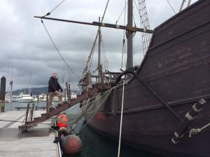 Pete climbs aboard The Pinta