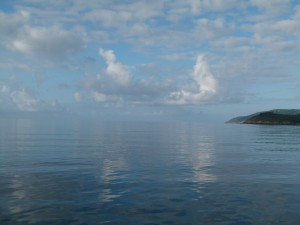 Cap Finisterre in the calmest of calm conditions